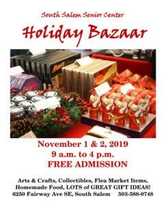 Flyer for South Salem Senior Center Holiday Bazaar 2019